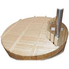 Holzabdeckung für Badezuber mit Innenofen